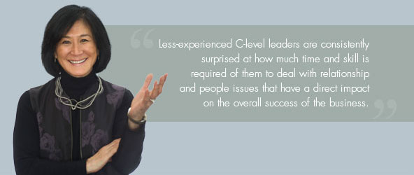 Less-experienced C-level leaders are consistently surprised at how much time and skill is required of them to deal with relationship and people issues that have a direct impact on the overall success of the business.
